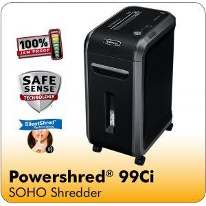 Fellowes Powershred® 99Ci 100% Jam Proof Cross-Cut Shredder with SafeSense® Technology