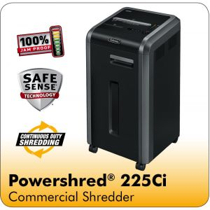 Fellowes Powershred® 225Ci 100% Jam Proof Cross-Cut Shredder with SafeSense® Technology