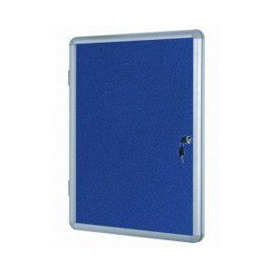 Lockable Notice Board - Blue Felt - 600x450mm Aluminium Frame