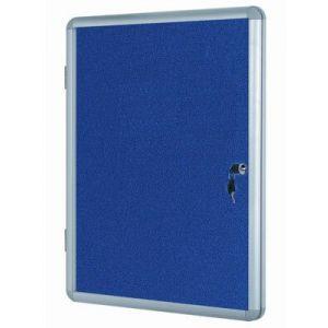 Lockable Notice Board - Blue Felt - 600x600mm Aluminium Frame