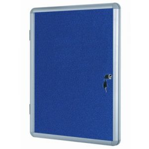 Lockable Notice Board - Blue Felt - 600x900mm Aluminium Frame