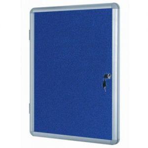Lockable Notice Board - Blue Felt - 1200x900mm Aluminium Frame