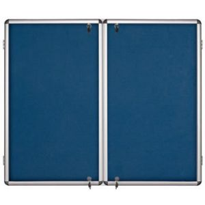 Lockable Notice Board - Blue Felt - 2 Doors - 2400x1200mm Aluminium Frame