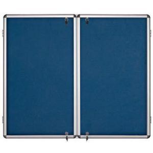 Lockable Notice Board - Blue Felt - 2 Doors - 2400x1200mm Aluminium Frame