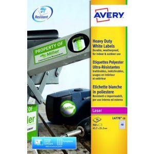 Avery Laser Heavy Duty Label 45.7x21.2mm 48 Per A4 Sheet White (Pack 960 Labels) L4778-20