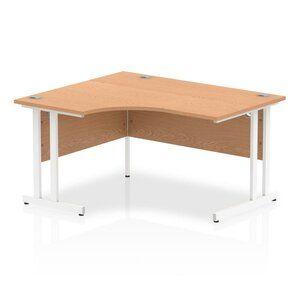 Impulse 1400mm Left Crescent Desk Oak Top White Cantilever Leg I003833