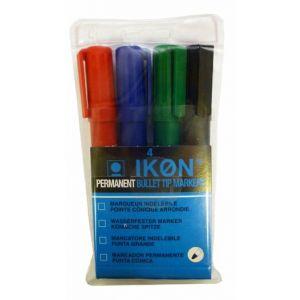 ValueX Permanent Marker Bullet Tip 2mm Line Assorted Colours (Pack 4)