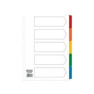 ValueX Divider 5 Part A4 Card White with Coloured Mylar Tabs